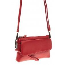 На фото 1 - Женский клатч из натуральной кожи, цвет красный