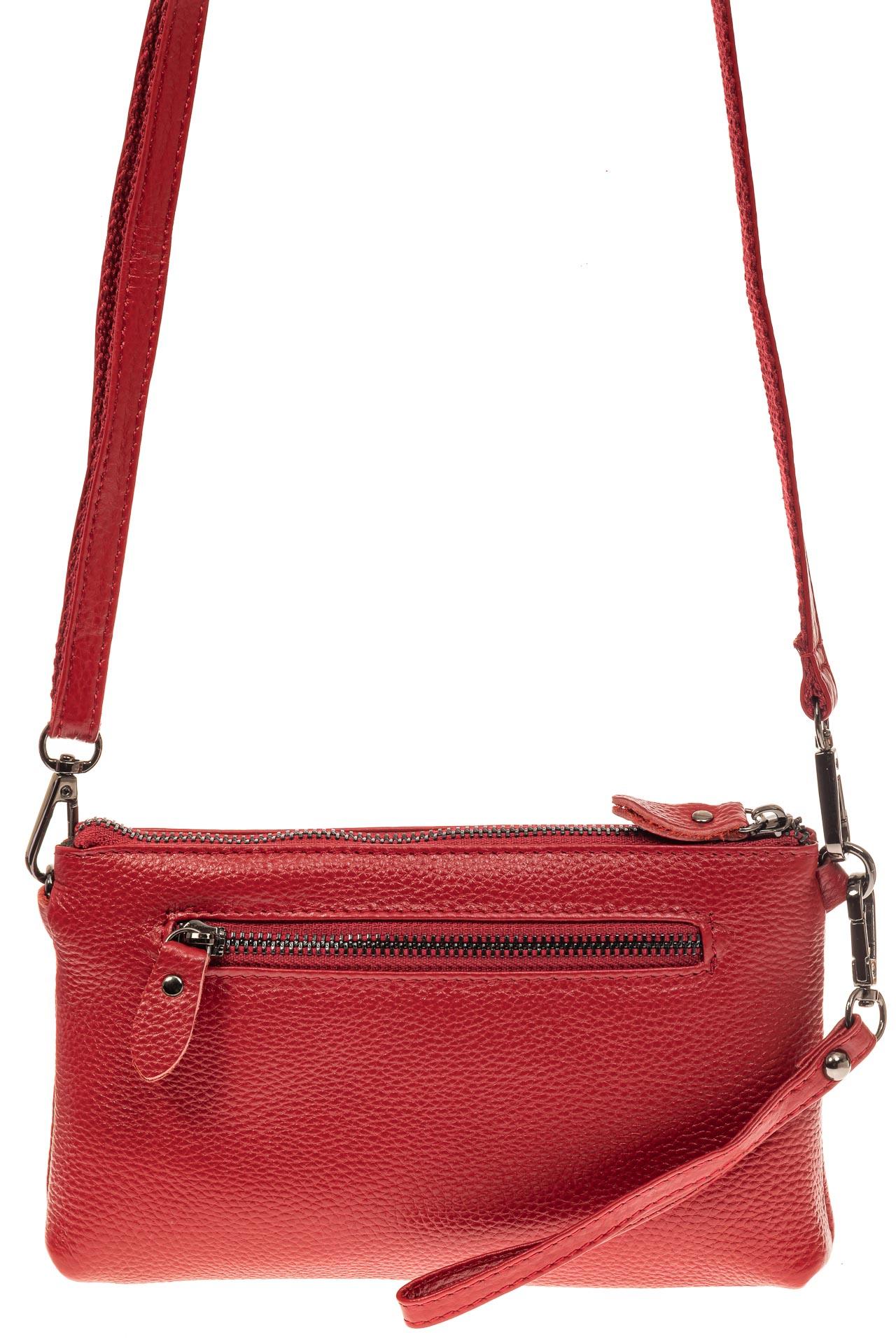 На фото 2 - Женский клатч из натуральной кожи, цвет красный