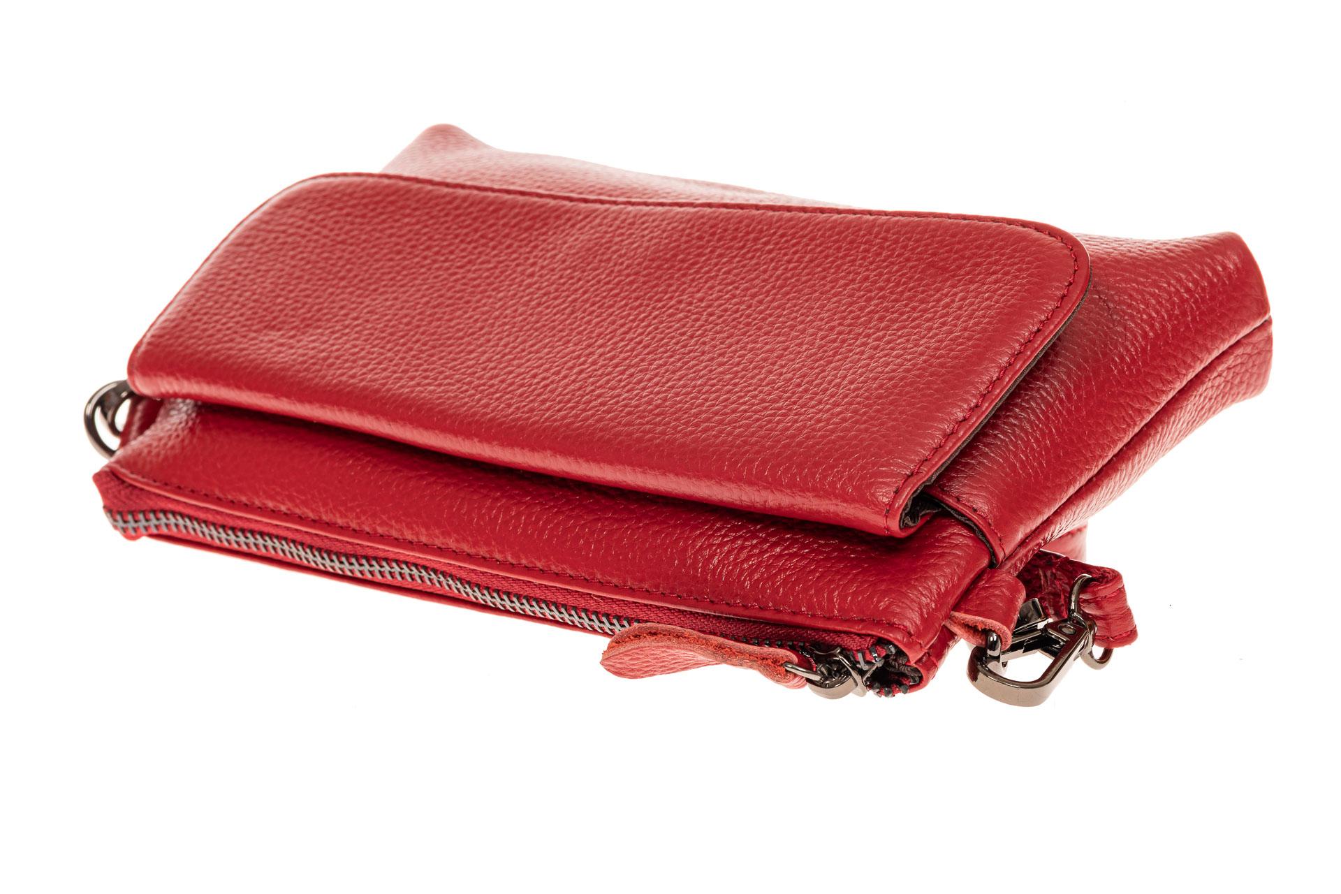 На фото 3 - Женский клатч из натуральной кожи, цвет красный