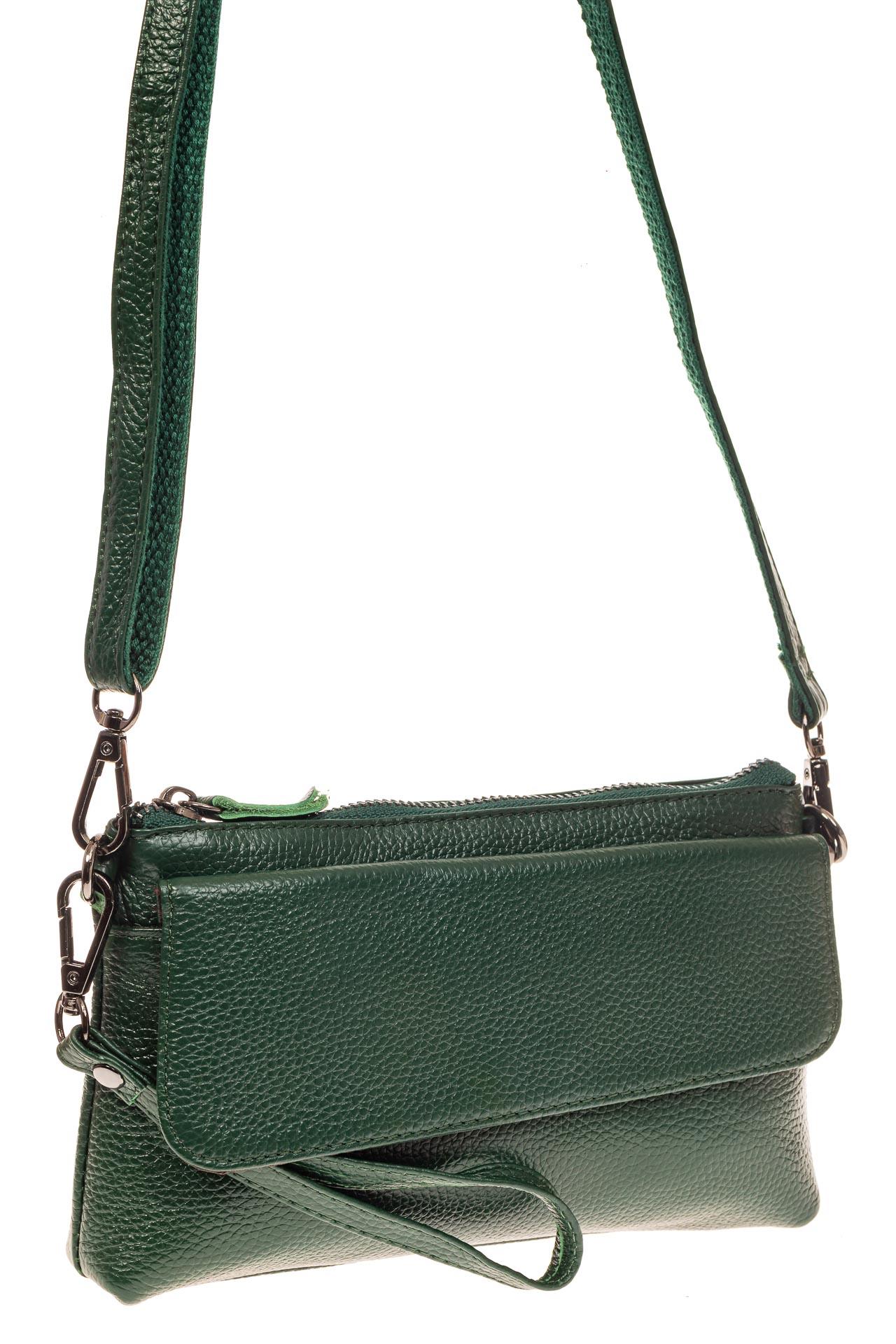 На фото 1 - Женский клатч из натуральной кожи, цвет зеленый