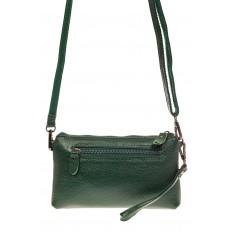 На фото 2 - Женский клатч из натуральной кожи, цвет зеленый