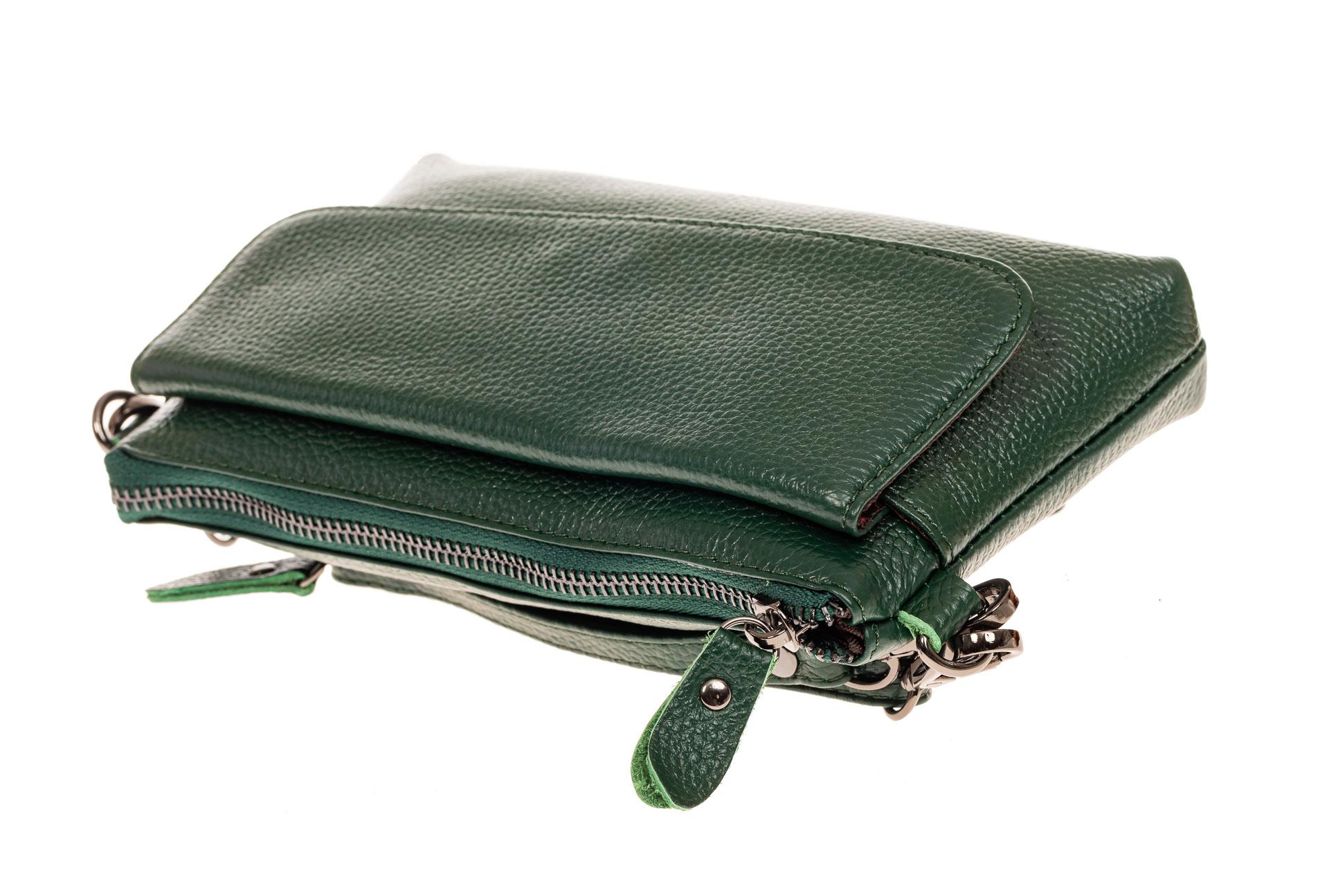 На фото 3 - Женский клатч из натуральной кожи, цвет зеленый