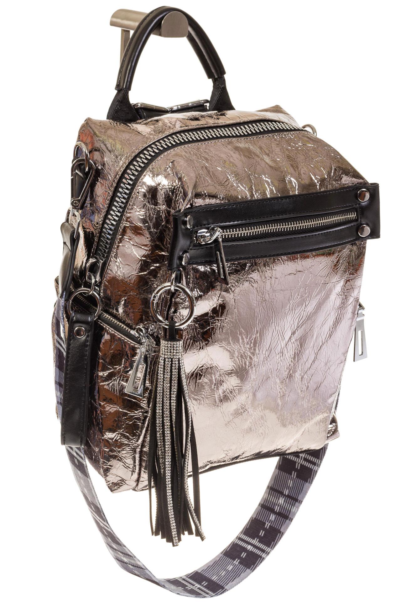На фото 1 - Сумка-рюкзак бронзового цвета из искусственной кожи