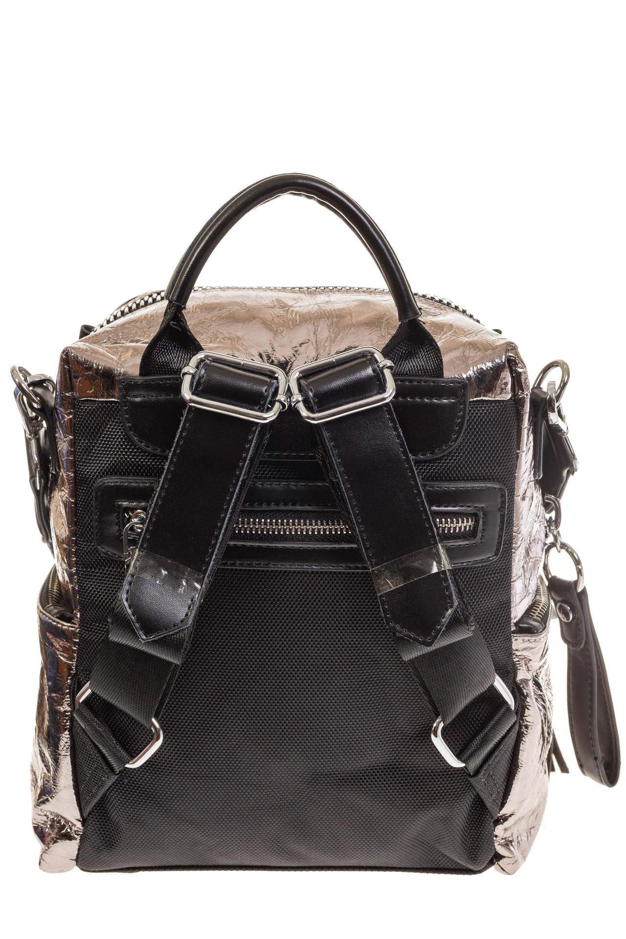На фото 3 - Сумка-рюкзак бронзового цвета из искусственной кожи