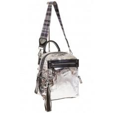 На фото 1 - Сумка-рюкзак серебристого цвета из искусственной кожи