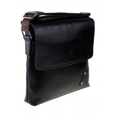 На фото 1 - Мужская сумка-мессенджер из фактурной искусственной кожи, цвет шоколад
