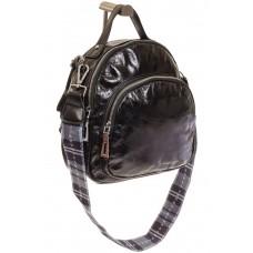 На фото 1 - Черный рюкзак из искусственной кожи округлой формы