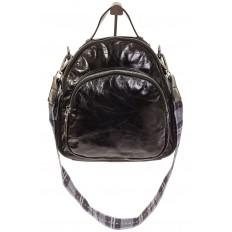 На фото 2 - Черный рюкзак из искусственной кожи округлой формы