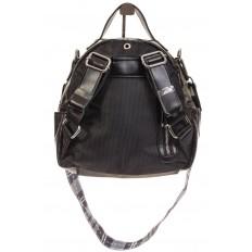 На фото 3 - Черный рюкзак из искусственной кожи округлой формы