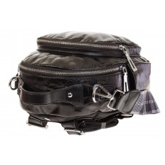 На фото 4 - Черный рюкзак из искусственной кожи округлой формы