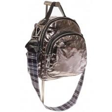 На фото 1 - Бронзовый рюкзак из искусственной кожи округлой формы