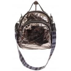 На фото 2 - Бронзовый рюкзак из искусственной кожи округлой формы