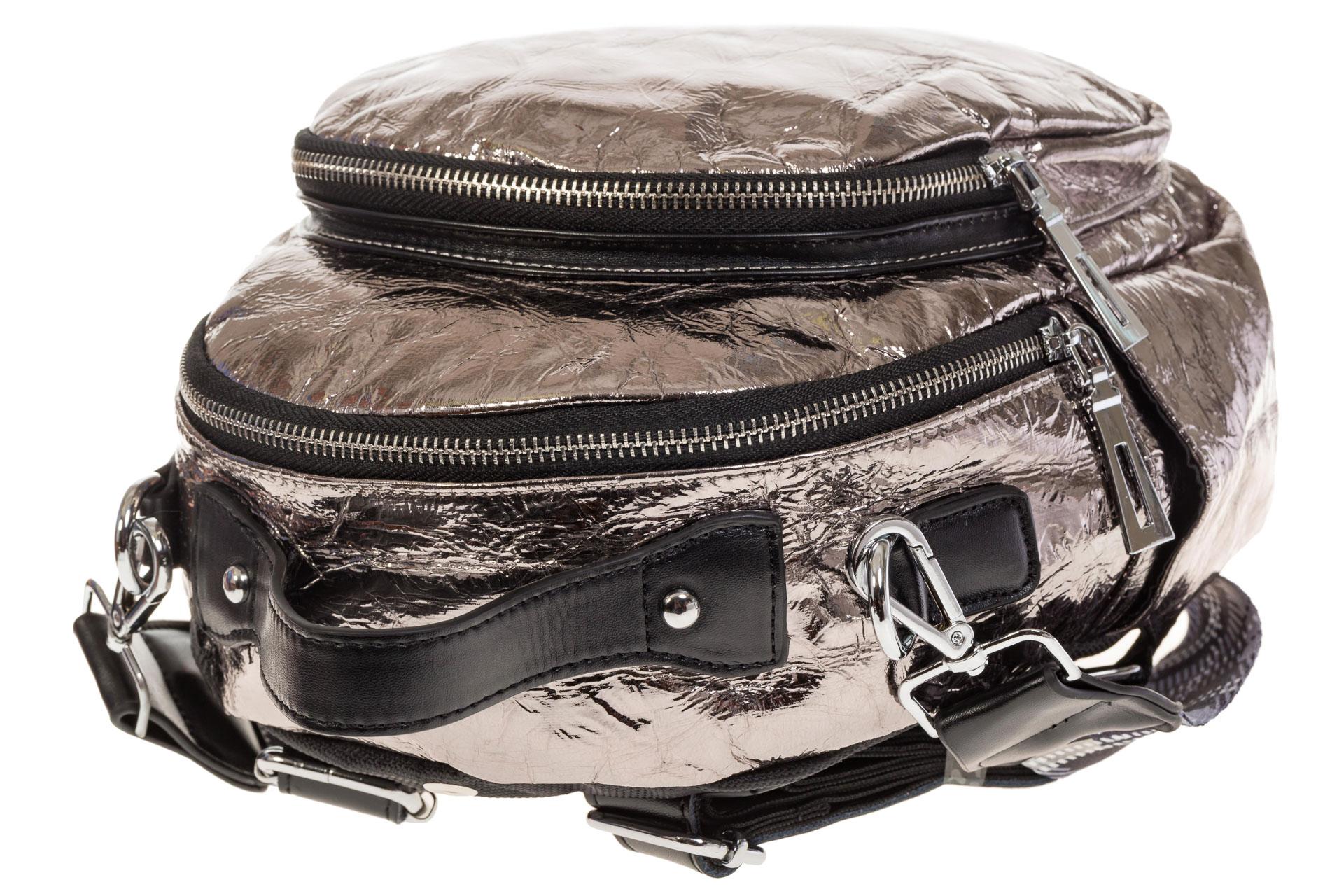 На фото 4 - Бронзовый рюкзак из искусственной кожи округлой формы