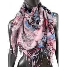 На фото 1 - Хлопковый платок-палантин с акварельной росписью, мультицвет