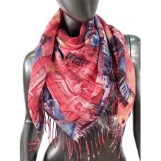 На фото 1 - Пёстрый платок-палантин из хлопка с акварельной росписью