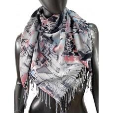 На фото 1 - Разноцветный платок-палантин из хлопка с акварельной росписью