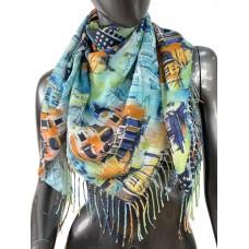 На фото 1 - Хлопковый платок-палантин с красочной росписью, мультицвет