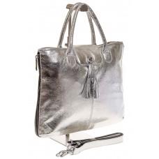 На фото 1 - Серебристая сумка из натуральной кожи с блеском 1105