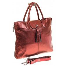 На фото 1 - Бордовая сумка из натуральной кожи с блеско...
