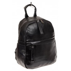 На фото 1 - Рюкзак женский из натуральной кожи, цвет черный