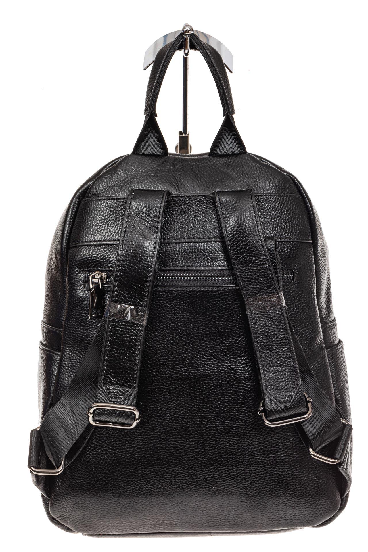На фото 3 - Рюкзак женский из натуральной кожи, цвет черный