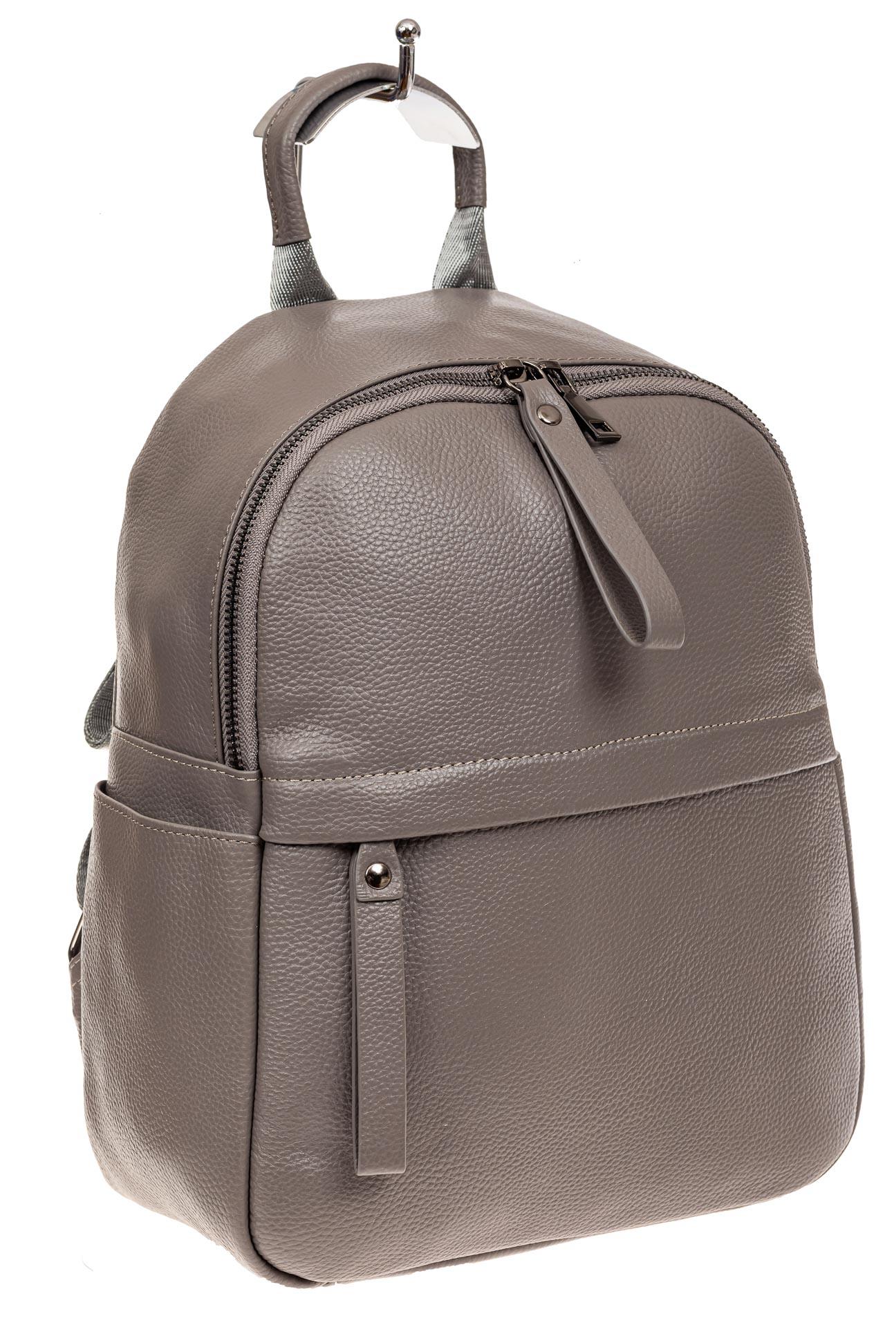 На фото 1 - Рюкзак женский из натуральной кожи, цвет серый