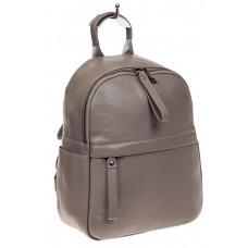 На фото 1 - Рюкзак женский из натуральной кожи, цвет се...