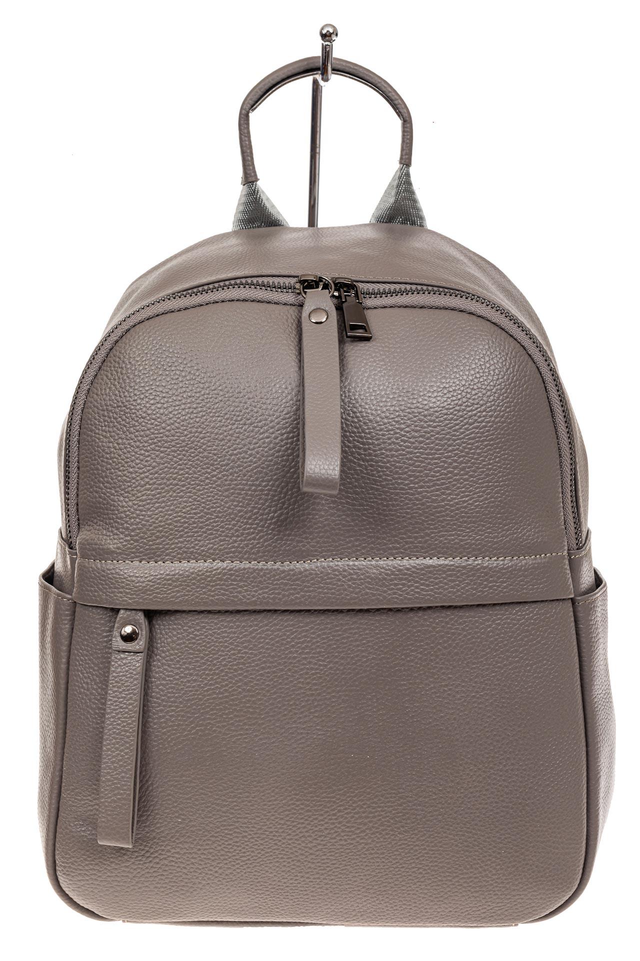 На фото 2 - Рюкзак женский из натуральной кожи, цвет серый