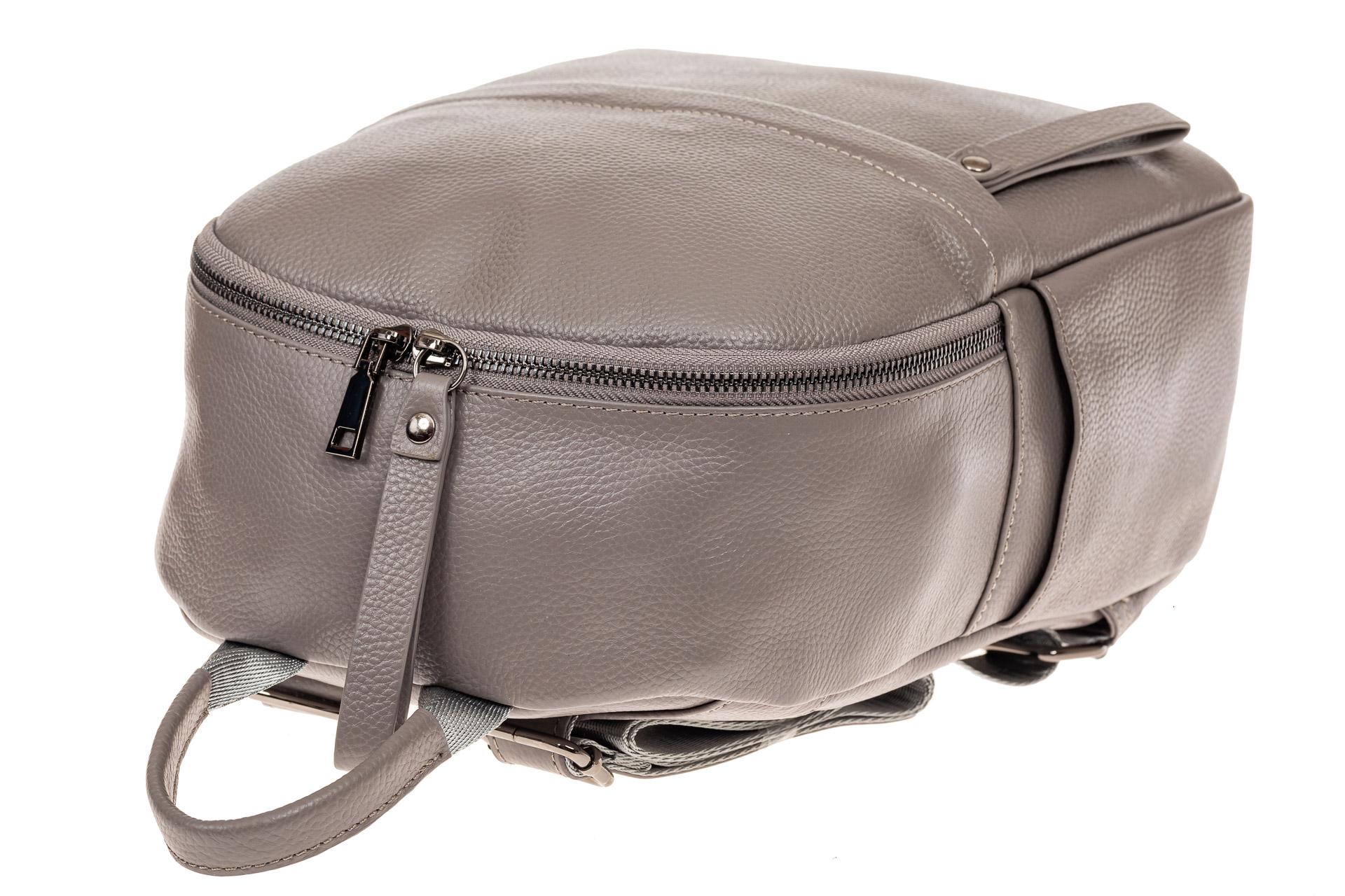 На фото 4 - Рюкзак женский из натуральной кожи, цвет серый