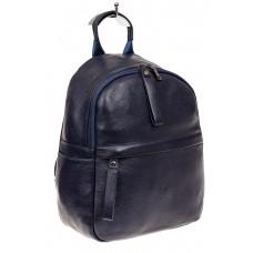 На фото 1 - Рюкзак женский из натуральной кожи, цвет синий