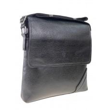 На фото 1 - Мужская сумка-мессенджер через плечо из экокожи, цвет чёрный