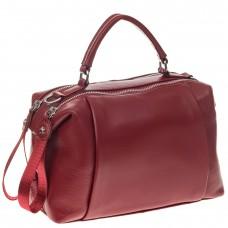 На фото 1 - Мягкая сумка-купол из натуральной кожи, цвет бордовый