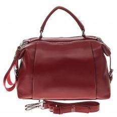 На фото 2 - Мягкая сумка-купол из натуральной кожи, цвет бордовый