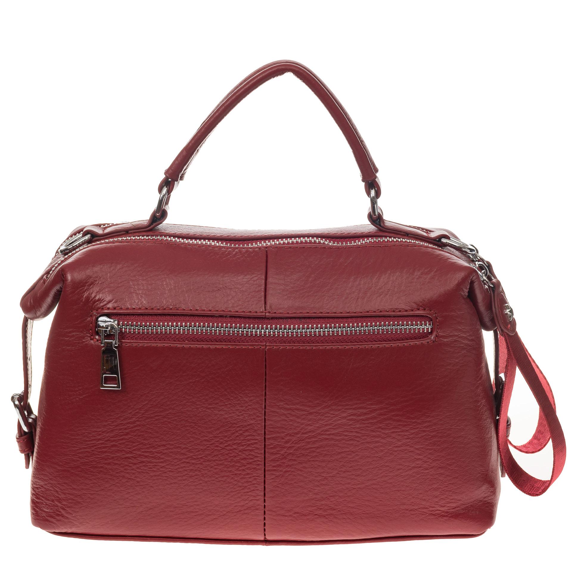 На фото 3 - Мягкая сумка-купол из натуральной кожи, цвет бордовый