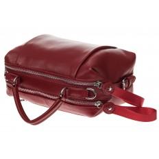 На фото 4 - Мягкая сумка-купол из натуральной кожи, цвет бордовый