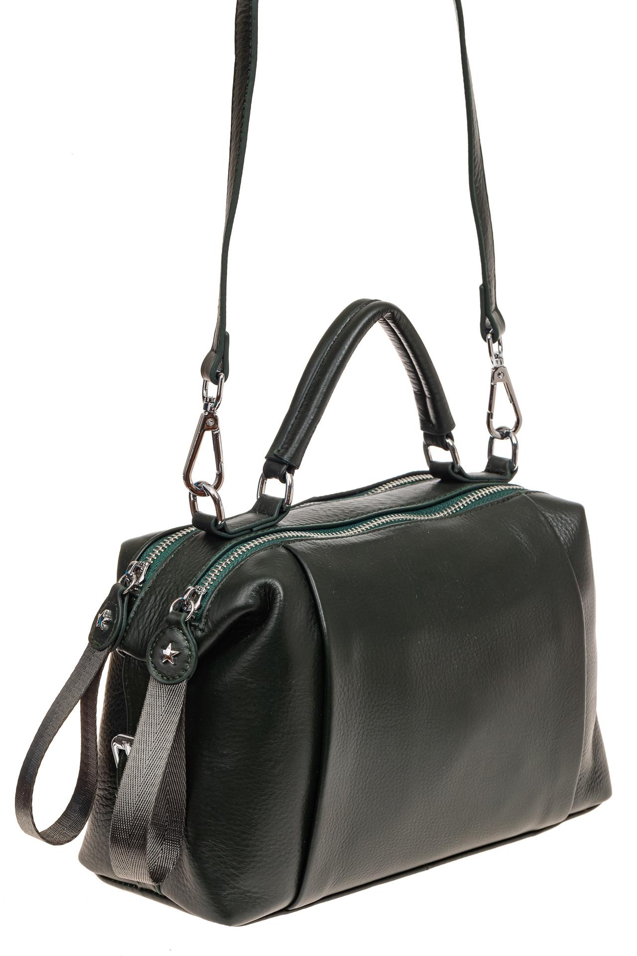 На фото 1 - Мягкая сумка-купол из натуральной кожи, цвет зеленый