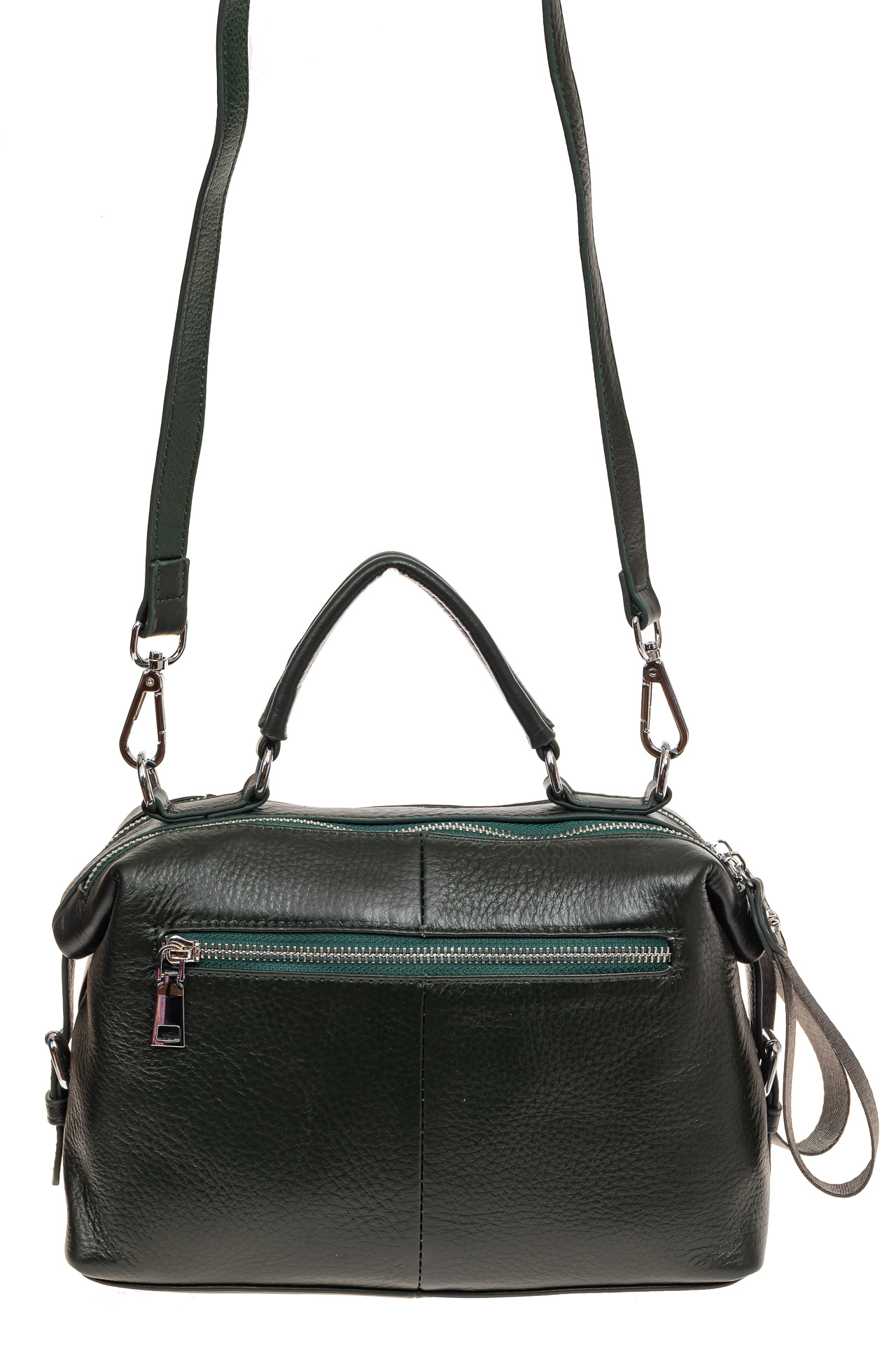 На фото 2 - Мягкая сумка-купол из натуральной кожи, цвет зеленый