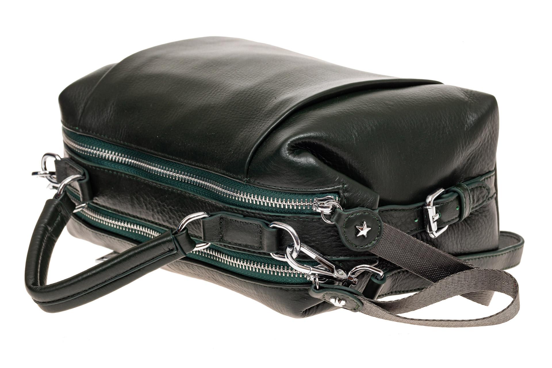 На фото 3 - Мягкая сумка-купол из натуральной кожи, цвет зеленый