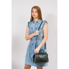 На фото 4 - Мягкая сумка-купол из натуральной кожи, цвет зеленый