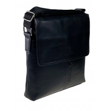 На фото 1 - Сумка-мессенджер из фактурной искусственной кожи, цвет чёрный