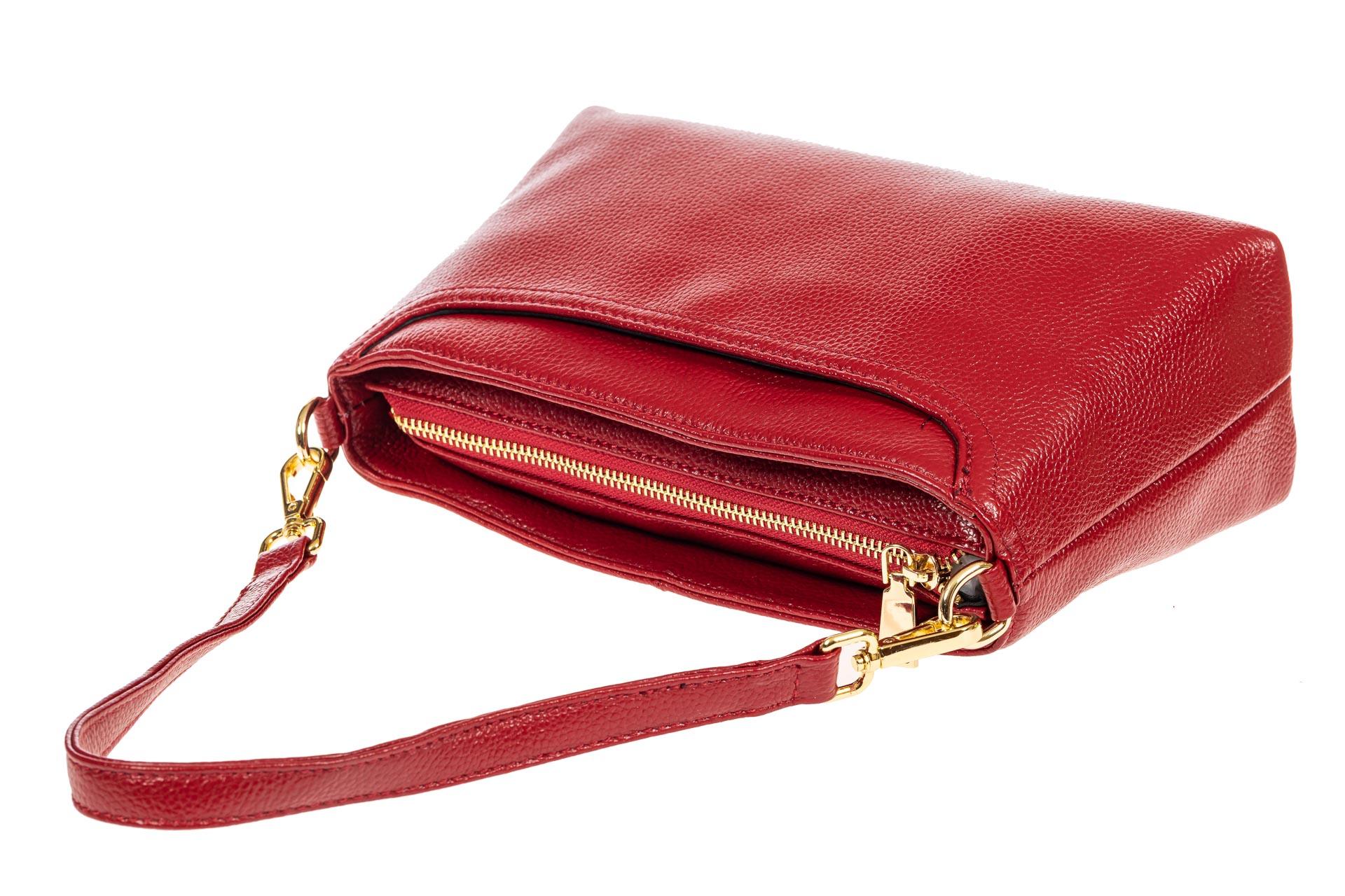 На фото 4 - Сумка женская кросс-боди из натуральной кожи, цвет красный