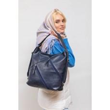 На фото 1 - Сумка хобо женская из искусственной кожи, цвет синий