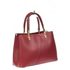 На фото 1 - Кожаная женская сумка тоут со скрипичным ключом, цвет красный
