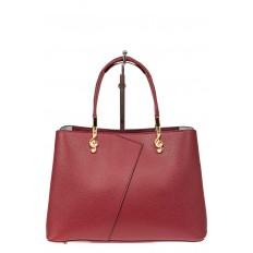 На фото 2 - Кожаная женская сумка тоут со скрипичным ключом, цвет красный