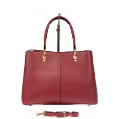 На фото 3 - Кожаная женская сумка тоут со скрипичным ключом, цвет красный