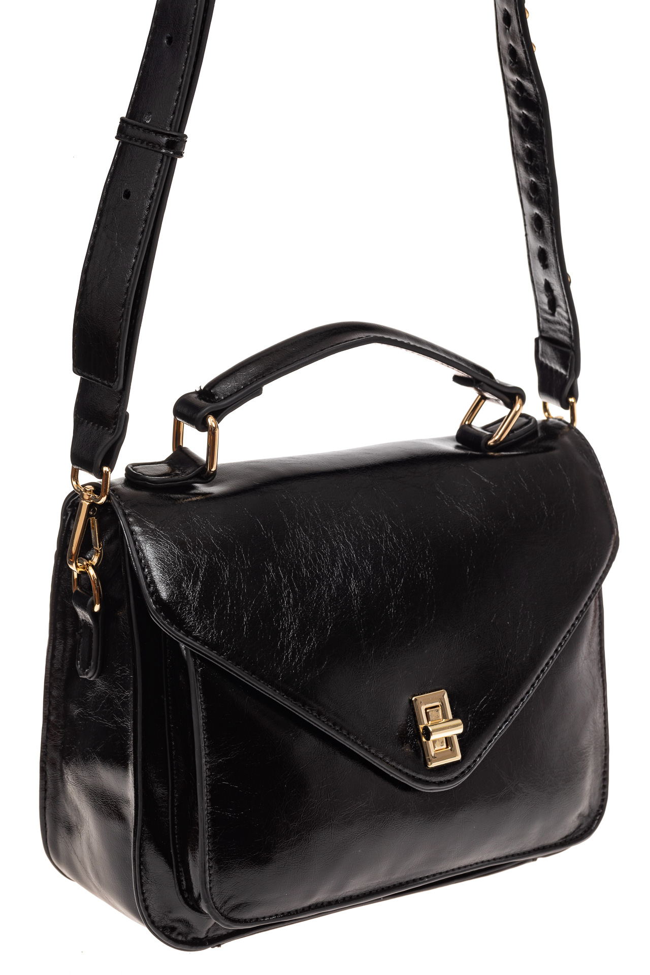 Наплечная сумка из искусственной кожи, цвет черный