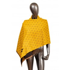 На фото 3 - Кашемировая шаль-палантин, цвет желтый