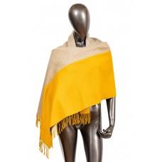 На фото 1 - Платок-палантин из кашемира, цвет желтый