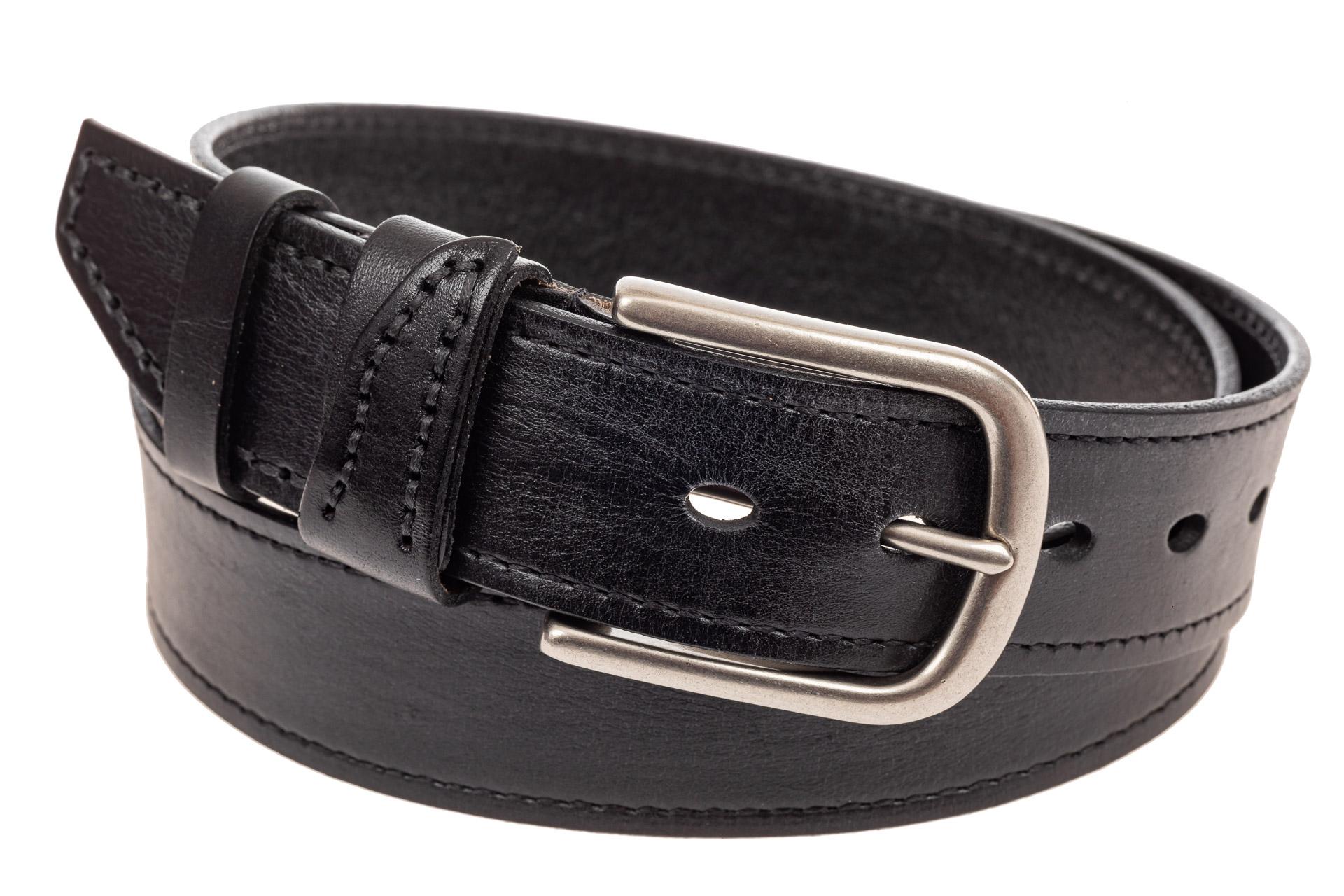 На фото 1 - Кожаный ремень мужской, длина 110 см, цвет черный