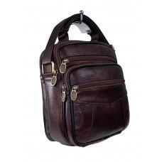 На фото 1 - Мужская сумка из фактурной натуральной кожи, цвет коричневый